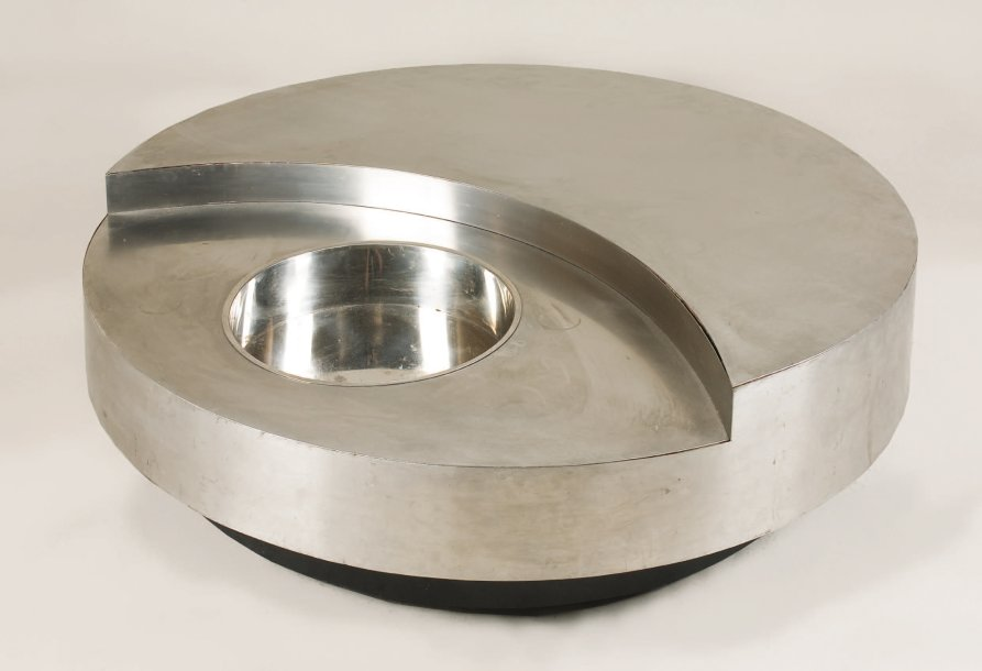 Willy Rizzo Table Basse Tournante De Forme Circulaire En Placage D Ino