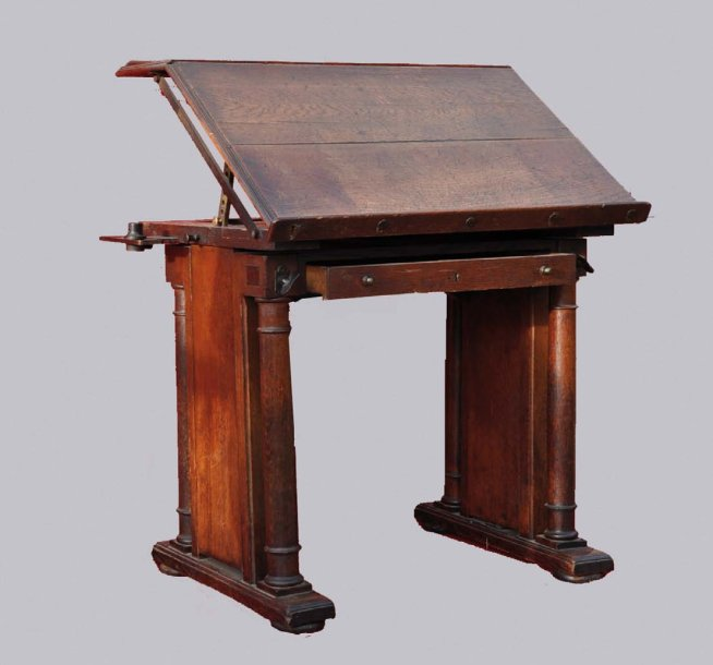 Table d 39 architecte en ch ne cir colonnes d tach es for Table d architecte ancienne