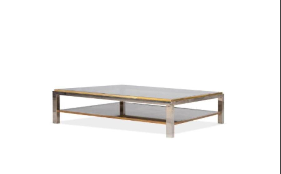 Willy Rizzo Table Basse Verre Metal Et Laiton 40 X 130 X 70 Cm Ci