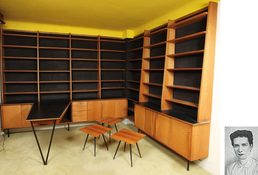 biblioth que d 39 angle et son bureau h 241 cm l 300 cm 228 cm ensemble. Black Bedroom Furniture Sets. Home Design Ideas