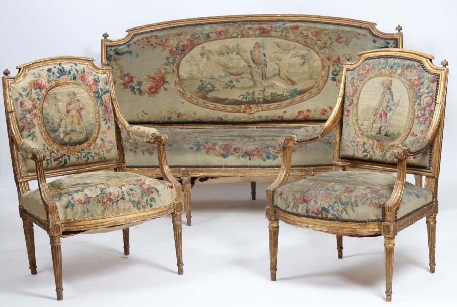 Rare salon en bois dore louis xvi salon de trois pi ces for Salon louis 16