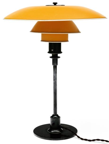 poul henningsen lampe poser ph4 3 m tal et m tal laqu jaune estampill e. Black Bedroom Furniture Sets. Home Design Ideas