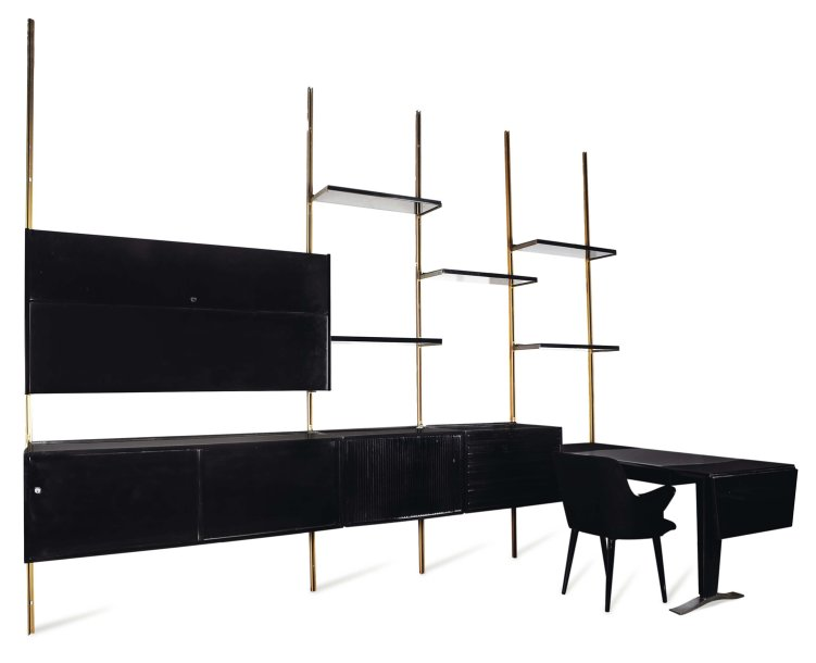 osvaldo borsani biblioth que modulable avec bureau int gr et son fauteuil. Black Bedroom Furniture Sets. Home Design Ideas