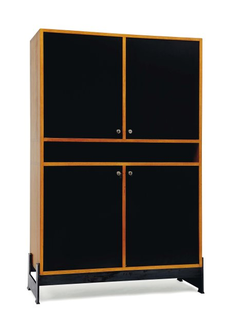 jules wabbes armoire quatre portes stratifi es noires et. Black Bedroom Furniture Sets. Home Design Ideas