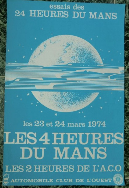 1 affiche 24h du mans 1974 essais. Black Bedroom Furniture Sets. Home Design Ideas