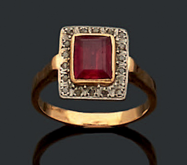 bague or jaune rouge