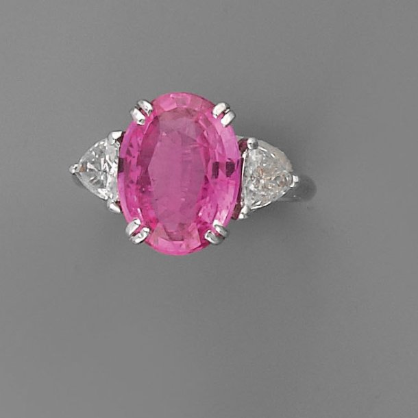Sehr Bague saphir rose et diamants, en or BD53