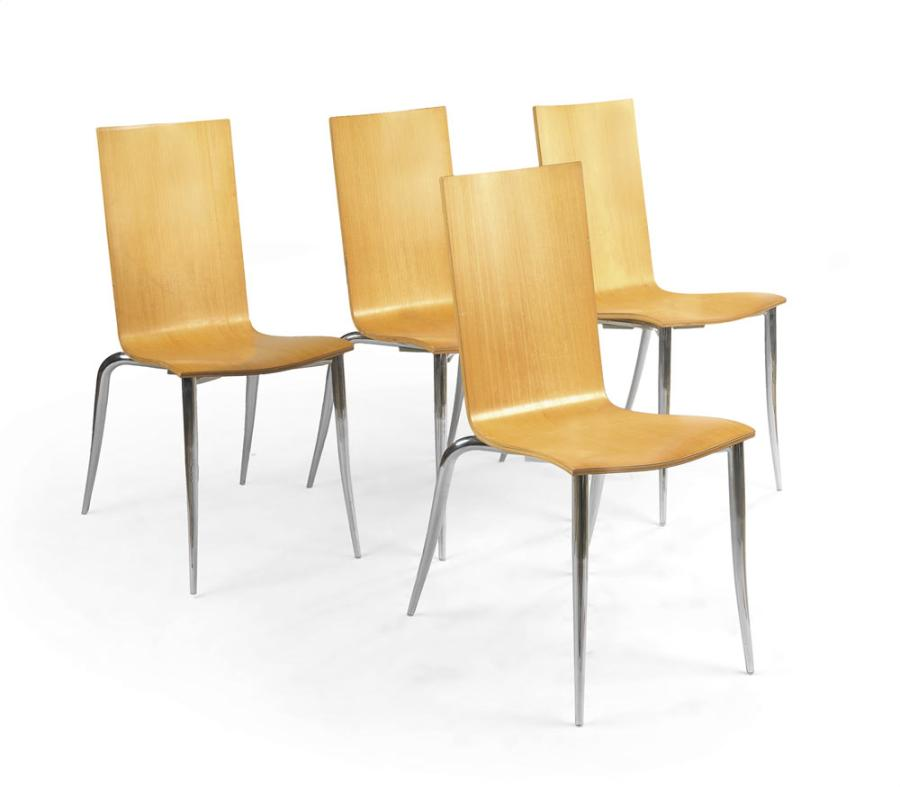 philippe starck n en 1949 quatre chaises olly tango empilable en bois. Black Bedroom Furniture Sets. Home Design Ideas
