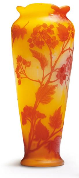 Emile galle vase en verre double col quadrilob d cor for Decoration quadrilobe
