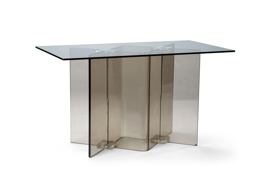 pied de table ou bureau 1970 plexiglas fum 75 x 130 x 70 cm. Black Bedroom Furniture Sets. Home Design Ideas