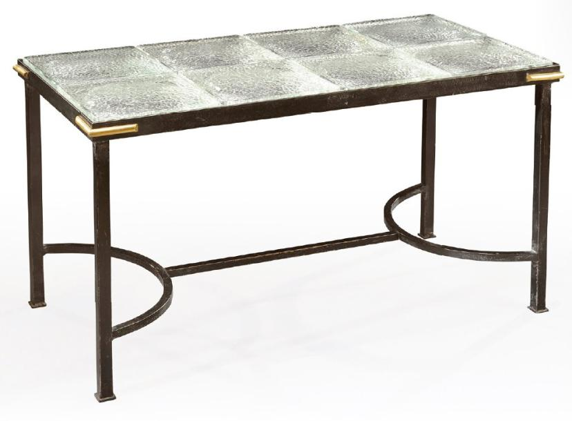 Jacques adnet table basse pi tement de section carr e en for Pietement table metal