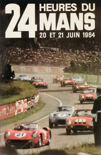 les 24 heures du mans 1964 affiche photo paris match imprimerie thivillier. Black Bedroom Furniture Sets. Home Design Ideas