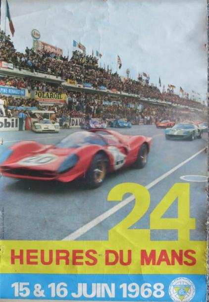 affiche les 24 heures du mans 1965 affiche photo delourmel imprimerie. Black Bedroom Furniture Sets. Home Design Ideas