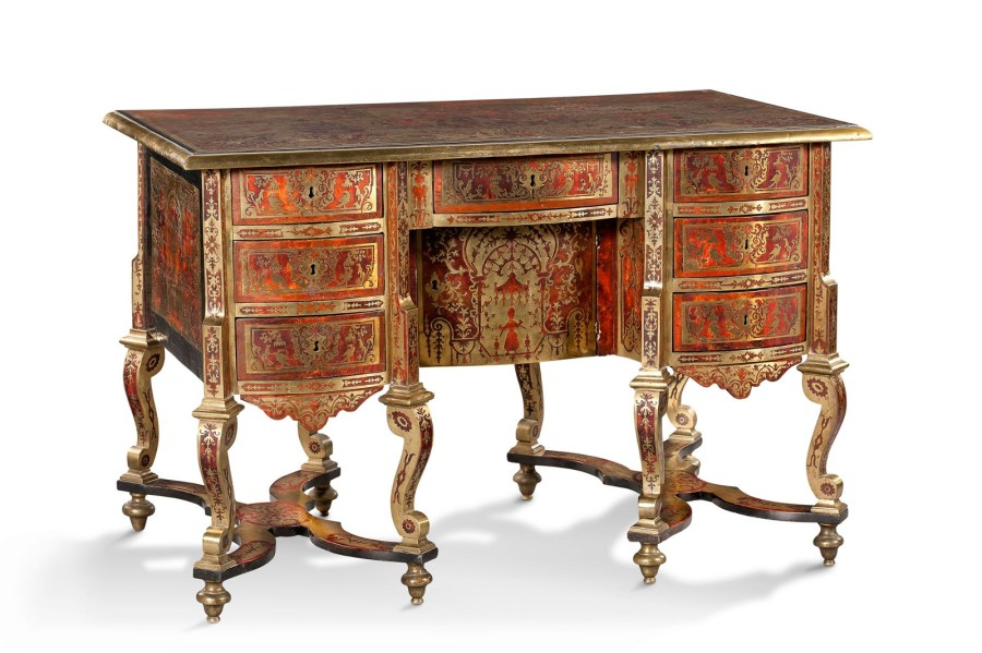 bureau mazarin en marqueterie boulle de laiton et caille. Black Bedroom Furniture Sets. Home Design Ideas