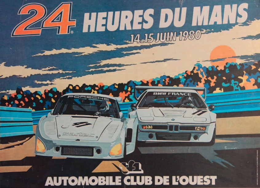 24 heures du mans 1980 affiche contrecoll e sur carton impression et r alisation. Black Bedroom Furniture Sets. Home Design Ideas