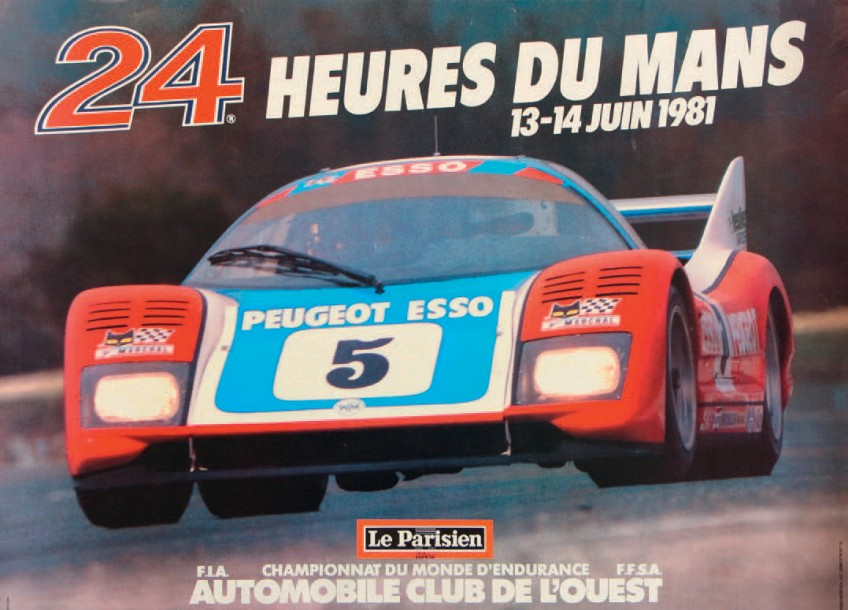 24 heures du mans 1981 affiche impression et r alisation publi inter sa. Black Bedroom Furniture Sets. Home Design Ideas