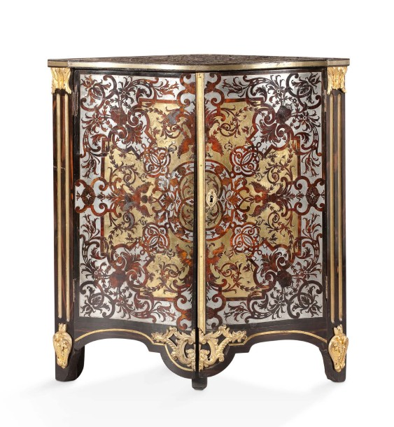 rare encoignure en marqueterie dite boulle de laiton. Black Bedroom Furniture Sets. Home Design Ideas