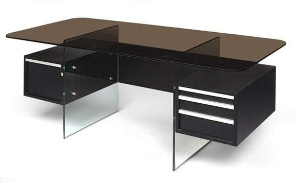xavier marbot bureau plateau rectangulaire en verre fum. Black Bedroom Furniture Sets. Home Design Ideas