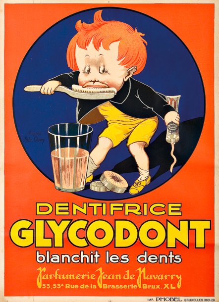 anonyme dentifrice glycodont blanchit les dents vers 1920 imprimerie. Black Bedroom Furniture Sets. Home Design Ideas