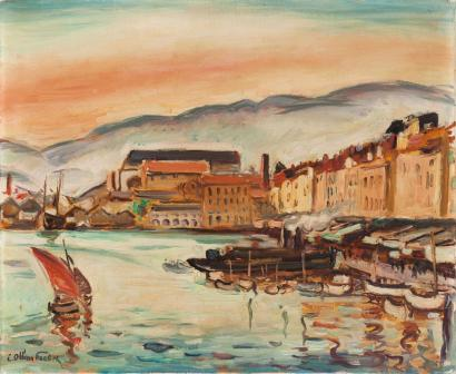 ventes aux ench res paris emile othon friesz 1879 1949 vue du port de toulon huile sur toile. Black Bedroom Furniture Sets. Home Design Ideas