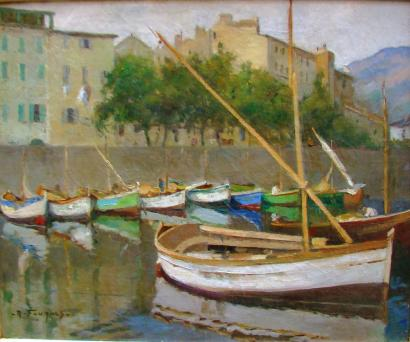 ventes aux ench res paris fouques robert henri 1892 1956 barques a quai dans le port de. Black Bedroom Furniture Sets. Home Design Ideas