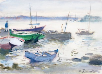 ventes aux ench res paris paul perraudin 1907 1993 les bateaux de p che amarr s aquarelle et. Black Bedroom Furniture Sets. Home Design Ideas