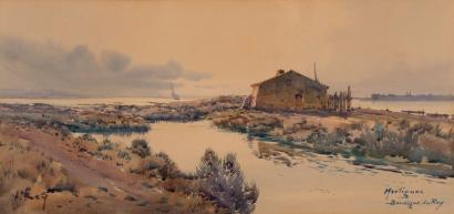 Alphonse REY (1865-1938) Martigues, Bordigue du Roy. Aquarelle. Signée en b