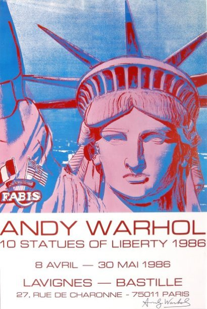 Ventes aux ench res paris andy warhol the statue of liberty affiche couleur s - Papier peint andy warhol ...