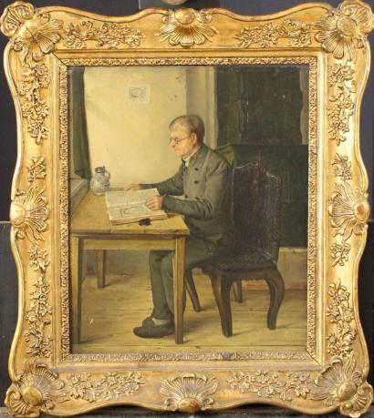 Austrian monogrammist around 1840 Portrait of a man by an oven sitting at the table