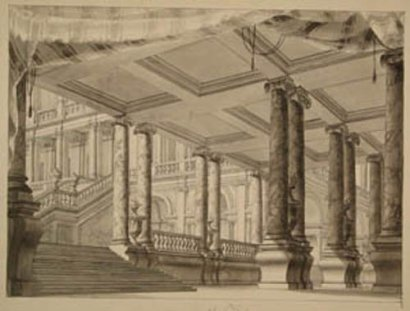 Austrian Artist 18. century Architectural Design for a Grand Hall, black ink o