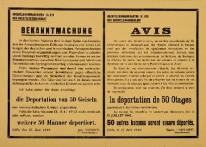 ventes aux ench res paris lille 27 juin 1942 avis bilingue des autorit s allemandes des terro. Black Bedroom Furniture Sets. Home Design Ideas