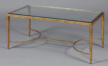 Ventes aux ench res paris maison ramsay vers 1960 table for Table basse fer forge plateau verre