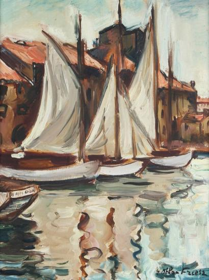 ventes aux ench res paris emile othon friesz 1879 1949 les voiles quai du parti toulon huile. Black Bedroom Furniture Sets. Home Design Ideas
