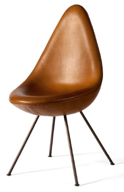 Ventes Aux Ench 232 Res Paris Arne Jacobsen 1902 1971 Chaise Drop En Cuir Et Cuivre Drop Chair In