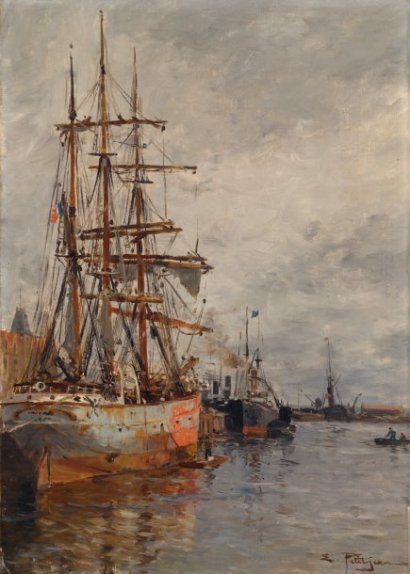 ventes aux ench res paris edmond marie petitjean 1844 1925 bateaux au port de marseille huile. Black Bedroom Furniture Sets. Home Design Ideas