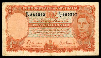 Australie. 10 shillings George VI, 1939  Commonwealth d'Australie, 10 shillings « George VI
