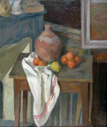 Albert COSTE (1896 - 1985)  Nature morte à la jarre, hommage Paul Cézanne, 193