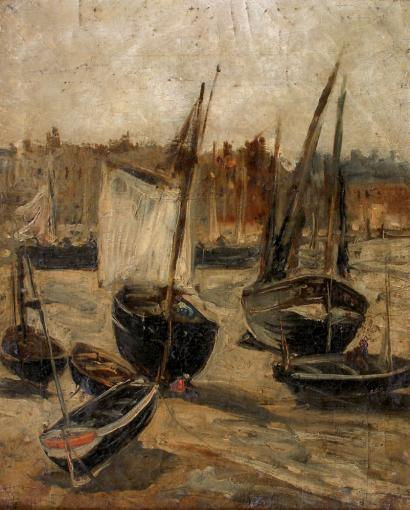 ventes aux ench res paris edouard dufeu 1840 1900 barques et bateaux dans le port marr e. Black Bedroom Furniture Sets. Home Design Ideas