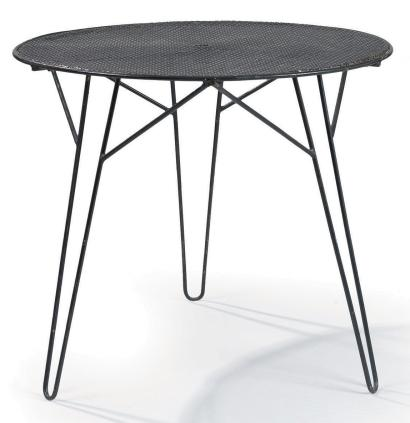 Mathieu MATEGOT (1910 - 2001) Table en fer forge laque noir a pietement tripode