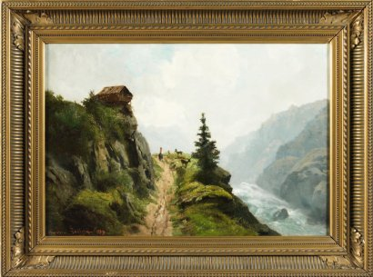 ventes aux ench res paris th odore levigne lyon 1848 1912 paysage de montagne au berger et. Black Bedroom Furniture Sets. Home Design Ideas