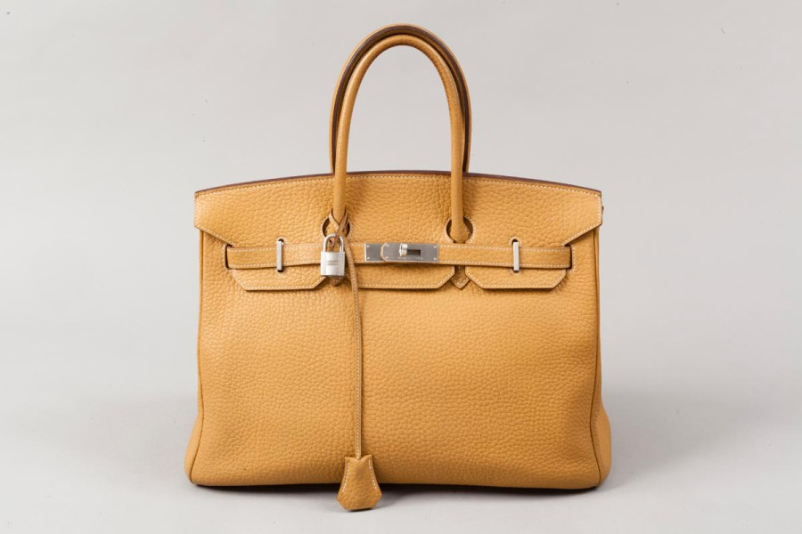 "HERMES Paris made in France  Sac ""Birkin"" 35cm en fjord sable, attaches et fermoir…"