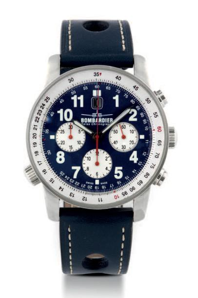 BOMBARDIER CHRONOGRAPH STEEL Bombardier,stainless steel chronograph, case n°1034.…