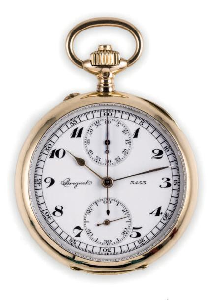 BREGUET CHRONOGRAPH POCKET WATCH 18K YELLOW GOLD Breguet, case n° 3453 made in 1900's…