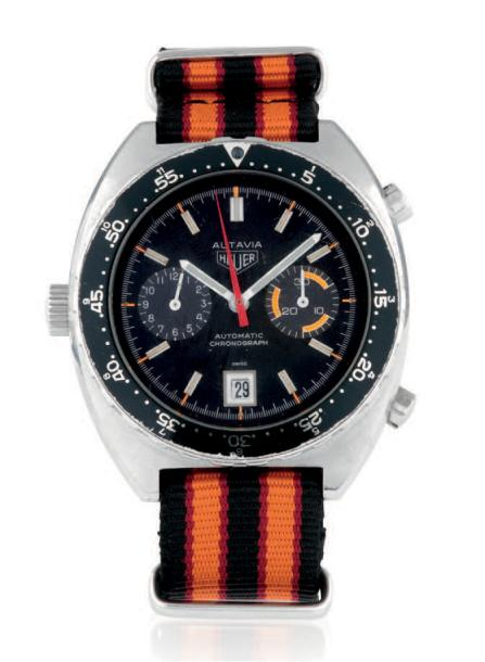 "HEUER AUTAVIA, ""ORANGE BOY"", STEEL Heuer, Autavia, Ref. 11630, n°313291. Made circa…"