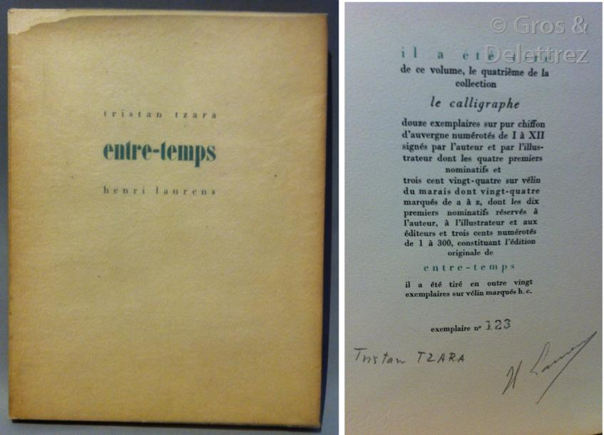 TZARA Tristan. Entre-temps.  Paris, [Le Point du Jour] (collection « Le Calligraphe »),…