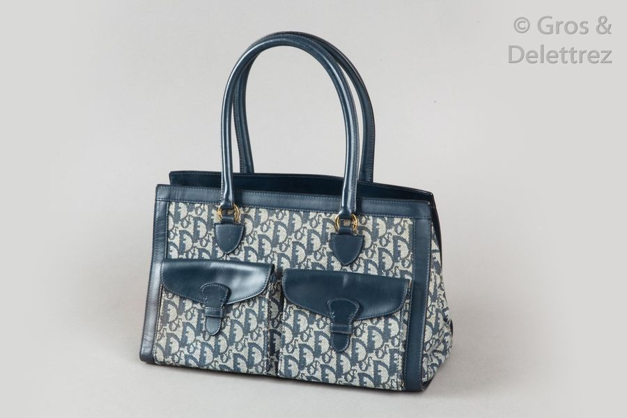 Christian DIOR par John Galliano - Collection 2002  Sac 35cm en toile oblique siglée…