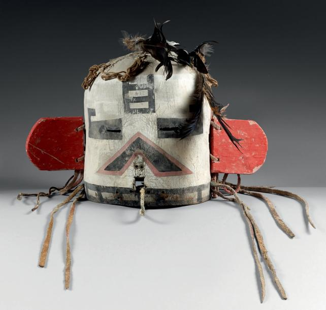 Masque heaume Velvet Shirt Kachina (?) ou Kau-a Kachina (?) Hopi, Arizona, U.S.A…