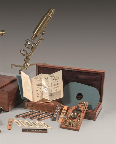 Rare MICROSCOPE ANGLAIS ancien de Philip CARPENTER (1776 1833) servant à observe…