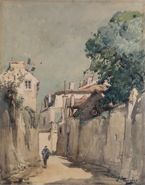 William THORNLEY - 1857-1935 RUE DE VILLAGE ANIMÉE Aquarelle signée en bas à droite.…