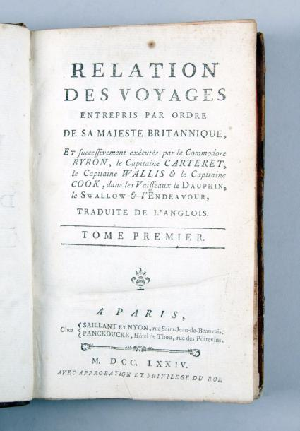 COOK (Capitaine James). [HAWKESWORTH (John)]. Relations des voyages entrepris par…